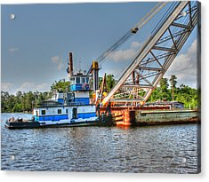 Push Boat And Barge Acrylic Print by Barry Jones