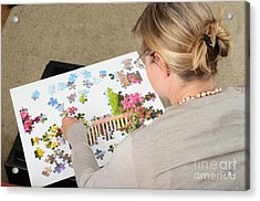 Puzzle Therapy Acrylic Print by Photo Researchers, Inc.