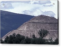 Acrylic Print featuring the photograph Pyramid Climbers Teotihuacan Mexico by John  Mitchell