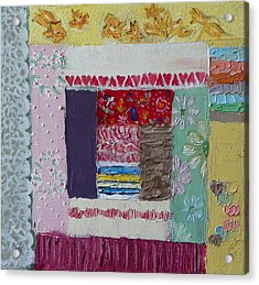Q Is For Quilt Detail From Childhood Quilt Painting Acrylic Print by Dawn Senior-Trask