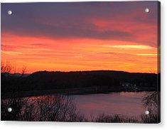 Quabbin Reservoir Windsor Dam Sunset Acrylic Print by John Burk