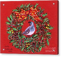 Acrylic Print featuring the painting Quail Holiday Greeting Card by Judy Filarecki