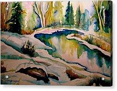 Quebec Winter Landscape Acrylic Print by Carole Spandau