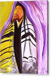Rabbi Praying With Kabbalah Acrylic Print by Stanley Morganstein