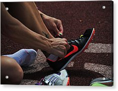 Race Preperations Acrylic Print by Mike Martin