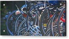 Racing Bikes Acrylic Print by Sarah McKoy