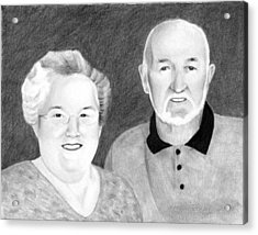 Acrylic Print featuring the drawing Raeleen And Jim Campbell by Ana Tirolese