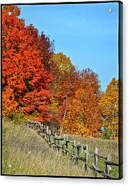 Rail Fence In Fall Acrylic Print by Peg Runyan