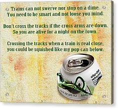 Rail Road Safety In Green Acrylic Print by Andee Design