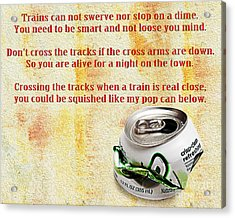 Rail Road Safety In Red Acrylic Print by Andee Design