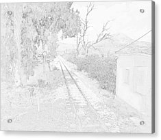 Railroad Crossing In Pencil Sketch Look On The Way From Mycenae To Olympia In Greece Acrylic Print by John Shiron