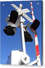 Railroad Crossing Sign And Gate . 7d10645 Acrylic Print by Wingsdomain Art and Photography
