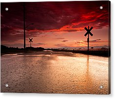 Railroad Sunset Acrylic Print by Cale Best