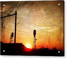 Railroad Sunset Acrylic Print by Yvon van der Wijk