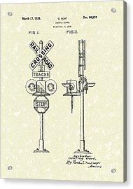 Railroad Traffic Signal 1936 Patent Art Acrylic Print by Prior Art Design