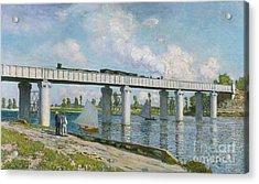 Railway Bridge At Argenteuil Acrylic Print by Claude Monet