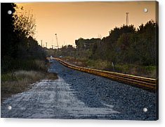 Railway Into Town Acrylic Print by Carolyn Marshall