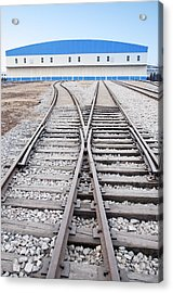 Railway Shed And Sidings. Bright Blue Acrylic Print by Guang Ho Zhu