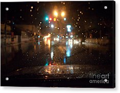Rain Drop At Front Car Mirror Acrylic Print by Ngarare