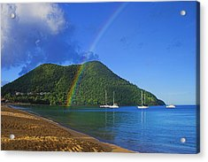 Acrylic Print featuring the photograph Rainbow And Boats- St Lucia by Chester Williams