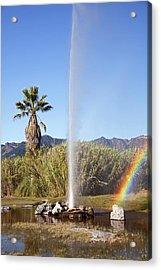 Rainbow At Old Faithful Acrylic Print by Jenna Szerlag