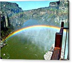 Rainbow At Shoshone Falls Id Acrylic Print by Jo Sheehan