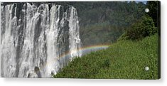 rainbow at Victoria falls Acrylic Print by Andrei Fried