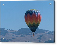 Rainbow Balloon Over Hills Acrylic Print by Bonnie Muir