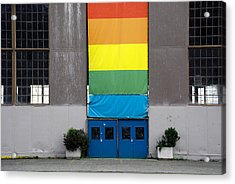 Acrylic Print featuring the photograph Rainbow Banner Building by Kathleen Grace