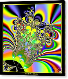 Rainbow Butterfly Bouquet Fractal 56 Acrylic Print by Rose Santuci-Sofranko