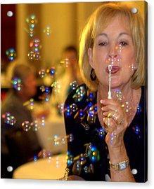 Rainbow Colored Bubbles  Acrylic Print by Gloria  Shelton