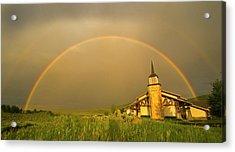 Rainbow In Stormy Sky Acrylic Print by Tom Kelly Photo