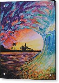 Rainbow Jawz Wave Acrylic Print by Anne Provost