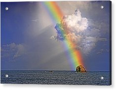 Acrylic Print featuring the photograph Rainbow On Birdrock- St Lucia. by Chester Williams