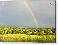 Rainbow Over Hay Field In Maine Acrylic Print by Keith Webber Jr