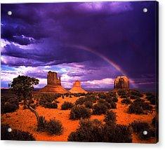 Rainbow Over Monument Valley Acrylic Print by Daniel Chui