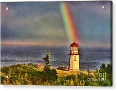 Rainbow Over The Lighthouse In Perce Quebec Acrylic Print