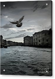 Rainy Day In Venice On The Grand Canal Acrylic Print by Gregory Dyer