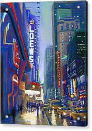 Acrylic Print featuring the painting Rainy Reflections In Times Square by Li Newton