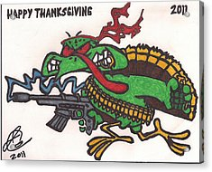 Acrylic Print featuring the drawing Rambo Turkey by Jeremiah Colley