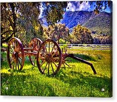 Rancho Oso Wagon Acrylic Print by Bob and Nadine Johnston