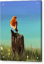 Acrylic Print featuring the painting Randy The Robin by Janet Greer Sammons