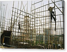 Rare Bamboo Scaffolding Used In Hong Acrylic Print by Justin Guariglia