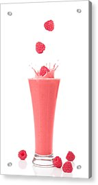Raspberry And Strawberry Smoothie Acrylic Print by Amanda Elwell