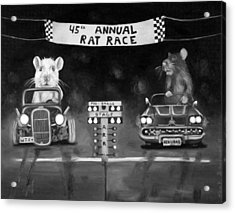 Rat Race Black And Wht Darker Tones Acrylic Print by Leah Saulnier The Painting Maniac