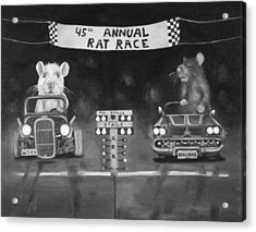 Rat Race In Black And White Acrylic Print by Leah Saulnier The Painting Maniac