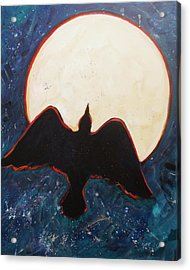 Raven And Bright Moon Acrylic Print by Carol Suzanne Niebuhr