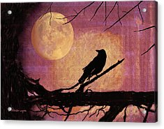 Raven And The October Moon Acrylic Print by Arline Wagner