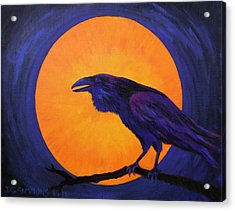 Acrylic Print featuring the painting Raven Moon by Janet Greer Sammons