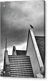 Acrylic Print featuring the photograph Raven On Church by James Bethanis